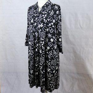 J Jill Black Floral Print Knit Shirt Dress L
